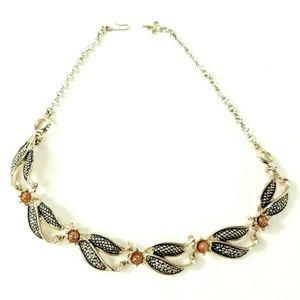 Vintage Rose Gold Tone Flower Goddess Necklace
